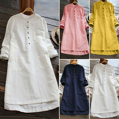 PLUS SIZE Women Retro Long Sleeve Casual Loose Button Tops Blouse Shirt Dress