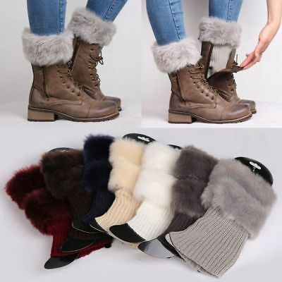 AU Women Winter Warm Knit Boot Cuff Fur Trim Knit Toppers Boot Socks Leg Warmers