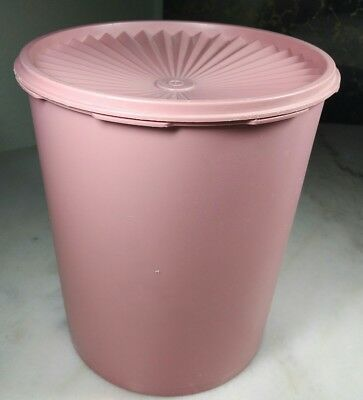 Vintage Tupperware Large Country Pink Canister 1339-2 W/ Matching Lid 1205-3