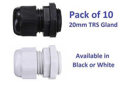 10 X 20mm Black Or White Nylon TRS Cable Glands & Lock Nut IP68 Rated