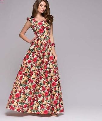 Women Floral Printed Sleeveless Square Collar Long Pleated Dress