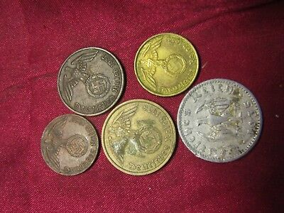 WWII GERMAN coins! 1, 2, 5, 10, 50, pfennig! SOLD OUT, DONT BUY THIS AUCTION....