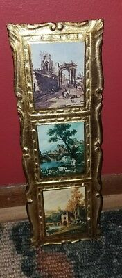 BEAUTIFUL VTG EMPIRE ART PRODUCTS Italian Florentine Triple Wall Plaque~ITALY!