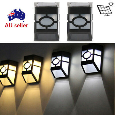 4pcs SOLAR POWERED WALL FENCE DOOR STAIR STEP LIGHTS LED OUTDOOR LIGHTING nn