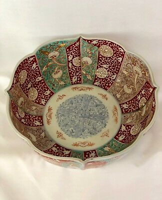 Late 19Th Century Imari Bowl Large Turquoise Purple Sienna White Beautiful Color
