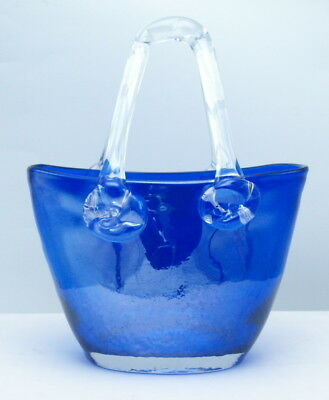 Vintage Murano Handblown Venetian Cobalt Blue Art Glass Purse Vase