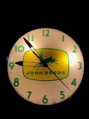 Vintage John Deere Light-up Dealership Clock Original Telechron #3