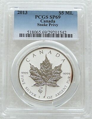 2013 Canada Maple Leaf SnakePrivy $5 Five Dollar .9999 Silver 1oz Coin PCGS SP69