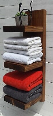 Chunky Rustic Farmhouse Solid pine wood towel Ladder/Shelf Unit Storage Display