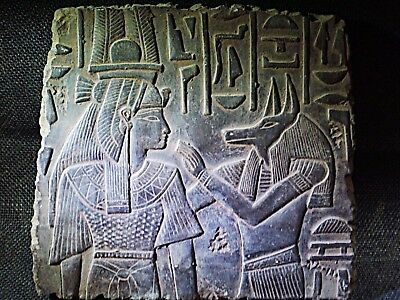 EGYPTIAN ARTIFACT ANTIQUITIES Anubis and Nephthys Stela Relief 3150-2890 BC