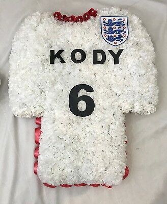 Artificial Silk Funeral Flower Football Shirt Tribute Any Team Memorial Wreath