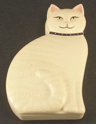 Special Gifts by Crowning Touch Cat Trinket Box Cream Colored Polka Dot Collar