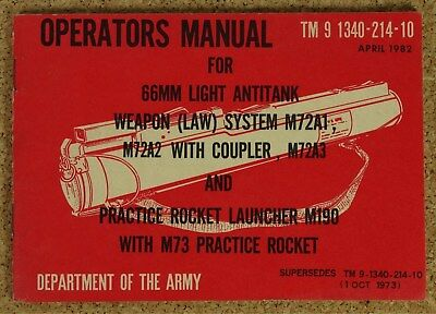 US Operators Manual 66 mm LAW M72 von 1982
