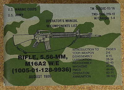 US Rifle M 16 Operators Components List Technical von 1986