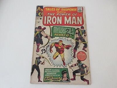"""TALES OF SUSPENSE No 57  1st App Hawkeye , """"The Power of Iron Man"""" Sept 1964 -GC"""