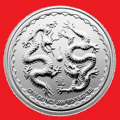 2018 1oz Double Dragon Niue Silver Bullion Coin in coin capsule