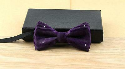 "Baby/Toddler Boy's Purple Diamond Bow Tie and 25"" or 30-36"" Black Suspenders"