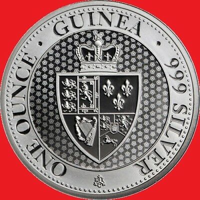 2018 1oz Silver St Helena Restrike Spade Guinea Bullion Coin. New/Uncirculated