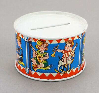 Alte Blech Spardose Trommel US Zone Germany 50's Still Coin Bank Drum Tin Toy