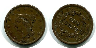 1840 Large Cent Liberty Coronet Penny Coin