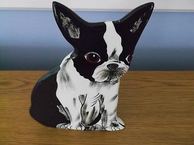 Hand Painted Boston Terrier Dog / Pup Vase ~ Dogs by Nina 2010