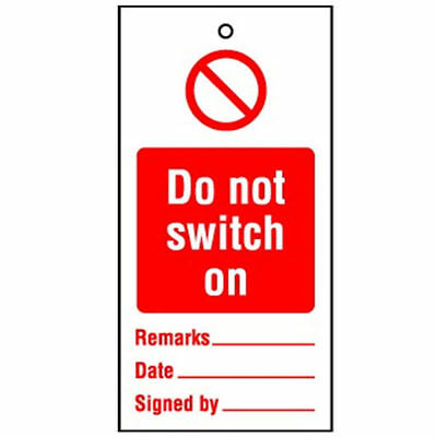 DO NOT SWITCH ON Lockout Tagout Tags x10 Warning RPT28BR