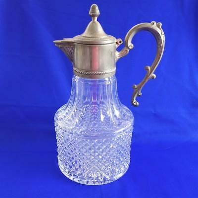Vintage Cut Glass with Silver Plated Lid Wine Carafe Decanter Made in Italy