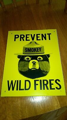 SMOKEY the BEAR Prevent Wild Fires Metal Advertising Sign Small 7 x 9