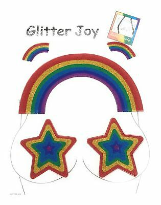 Gay Pride Rainbow Glitter Stars Joy Face Gems Adhesive Temporary Tattoo GP05