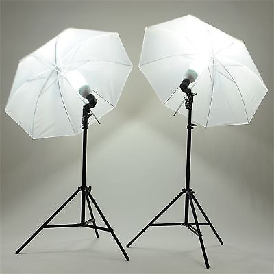 "2x135W Photography Studio 33"" Umbrella Continuous Lighting Stand Lamp Bulb Kit"