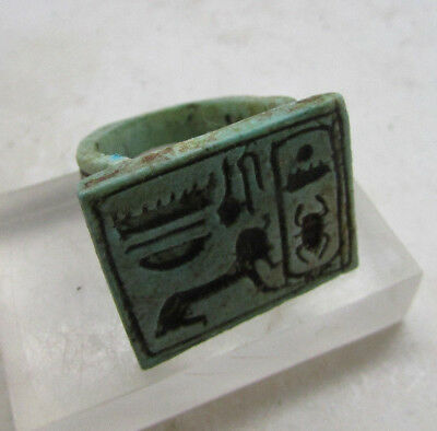 Beautiful Undated Egyptian Glazed Seal Ring With Hieroglyphics