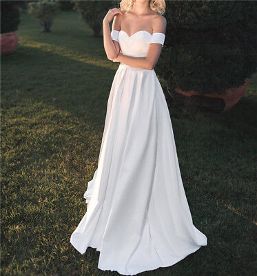 Sweetheart Wedding Dress Bridal Gown White Off Shoulder A Line Sweep Train Stain