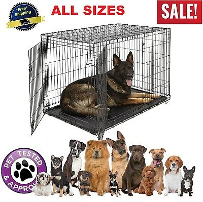 Dog Kennel Crate Cat Pet Folding Metal Cage 2 Doors Tray XXL / XL / L / M / S