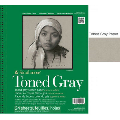 """Strathmore Recycled Toned Pad 400 Series 11x14"""" - 24 sheets - Gray"""