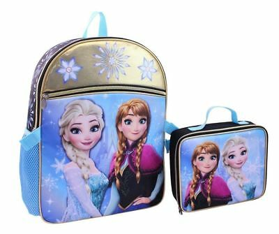 Disney Frozen Elsa Anna Kid Girls  School Backpack Lunch Box Book Bag Combo SET