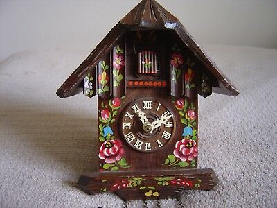 Black Forest Cuckoo Clock Chalet Bird Pine Cones Painted Flowers