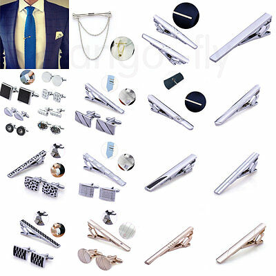 Men's Groom Wedding Cufflinks and Tie Clip Pin Clasp Bar Set Charm Simple Gift