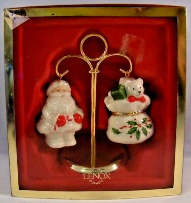 Lenox China Salt and Pepper Shakers Set With Stand Santa and Toys Christmas New