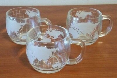 Vintage Nestle World Globe Atlas Frosted Etched Glass Coffee Cup Mug Set of 3