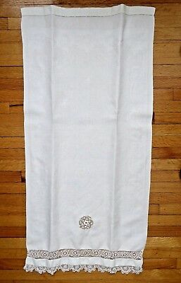 Antique Show Towel Huckaback Damask Hand Irish Crochet 17x34