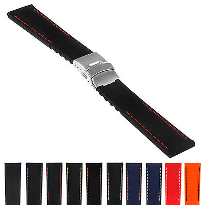 StrapsCo Rubber Watch Band w/ Stitching & Deployant Clasp - Quick Release Strap