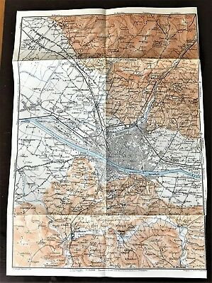 1909 ANTIQUE COLOR CITY MAP PLAN of FIRENZE, ITALY & SURROUNDING AREA