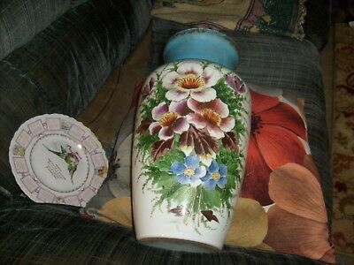 Colorful Bristol Tall Vase With Great Colors And 12 Kt. Gold Trim-13 1/2 Inches