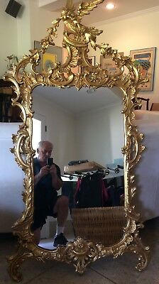 Ornate Wood Carved Framed Large Wall Mirror - High End - Not Home Goods Garbage!