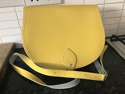 Daffodil Yellow Leather Saddle Bag By Zatchels - Brand New, Never Used