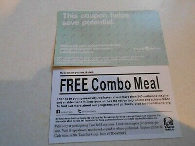 Lot of 5 Grab Bag Combo Meal Cards