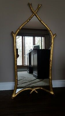 """Carvers' Guild #1158 """"Gothic Twig"""" Antique Gold Leaf Wall Mirror 21"""" x 42"""""""