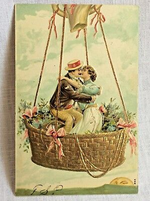 Antique Postcard Kissing Couple in Hot Air Balloon Mr Moon On the Horizon