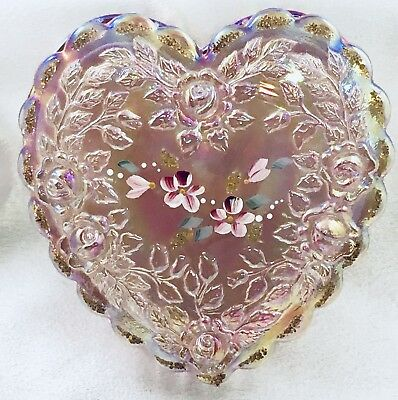 NEW PINK Vintage Fenton Heart Shaped Dish Rose C. Riggs Hand Painted Iridescent