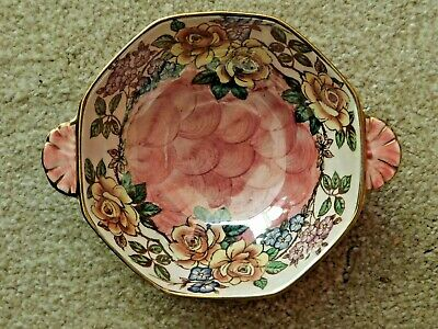 Maling Pink Lustre Rosine Pattern Small Two Handled Dish Newcastle On Tyne